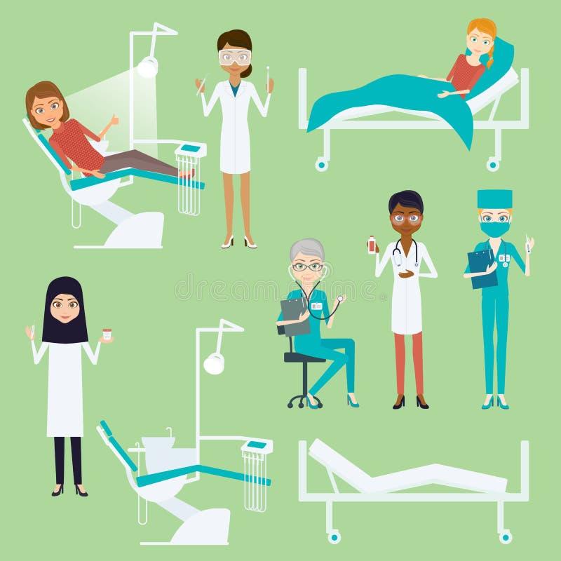 Jogo de caracteres da mulher do doutor ou da enfermeira Ilustração infographic lisa do vetor dos desenhos animados Raça diferente ilustração do vetor