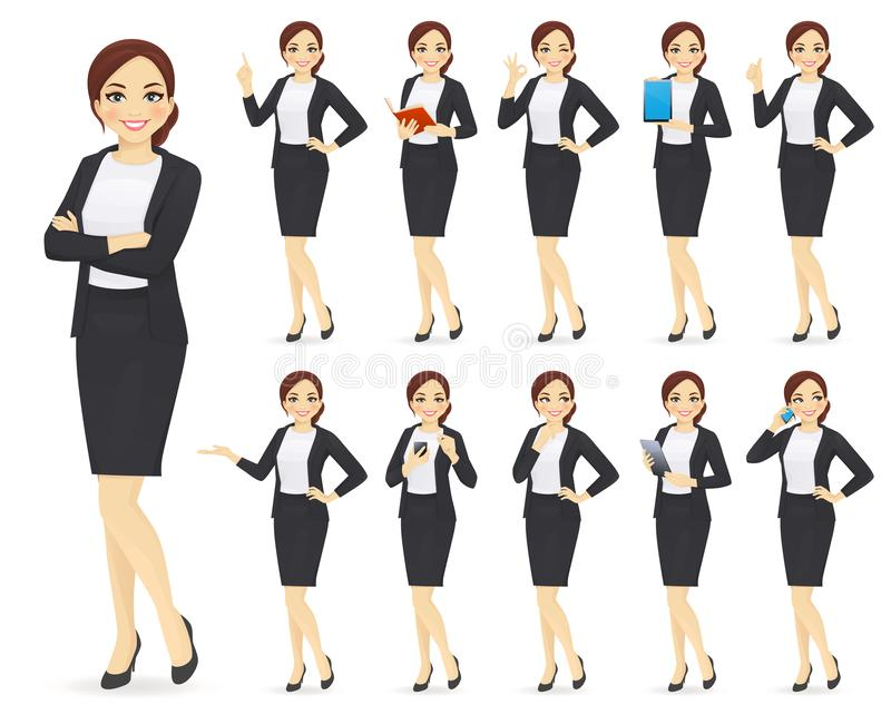 Jogo de caracteres da mulher de negócios ilustração do vetor