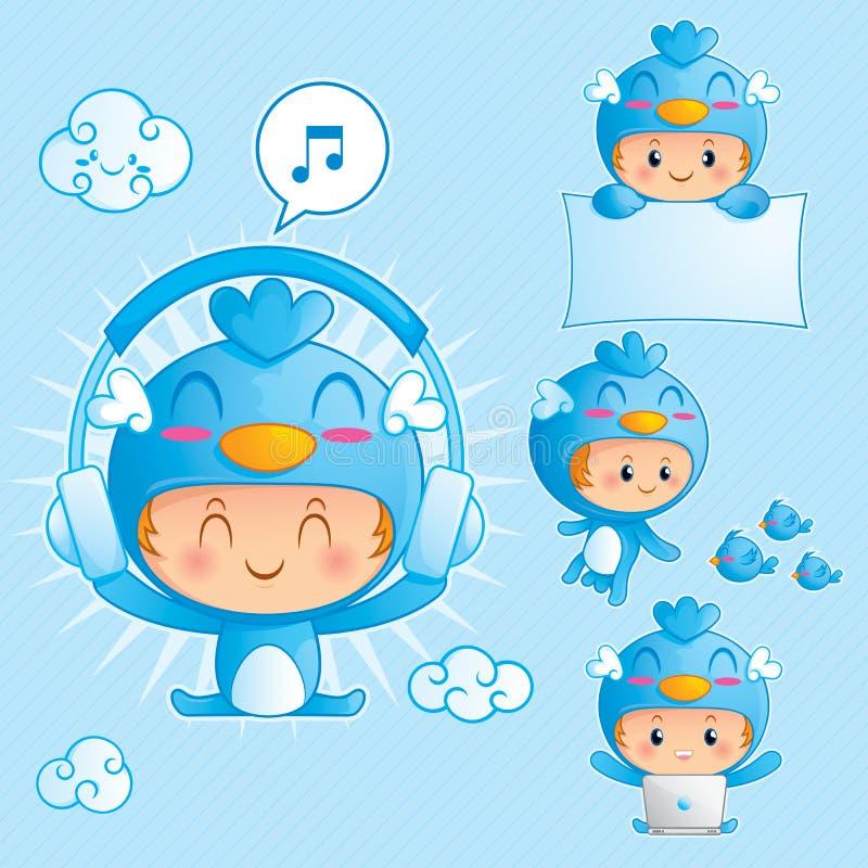 Jogo de caracteres de um menino no traje azul do pássaro ilustração do vetor