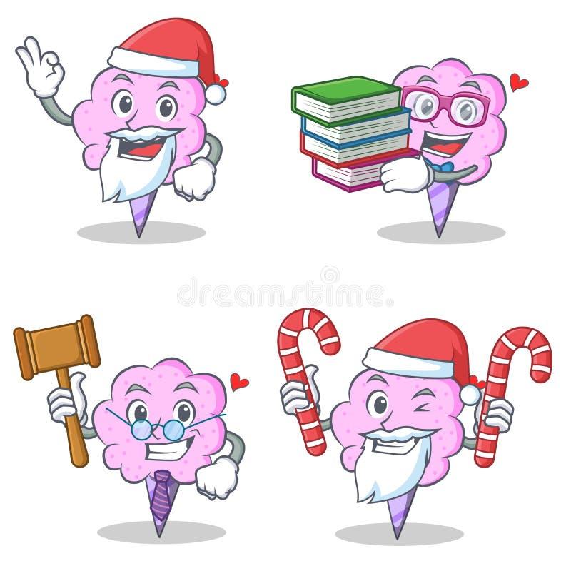 Jogo de caracteres do algodão doce com os doces do juiz do livro de Santa ilustração do vetor