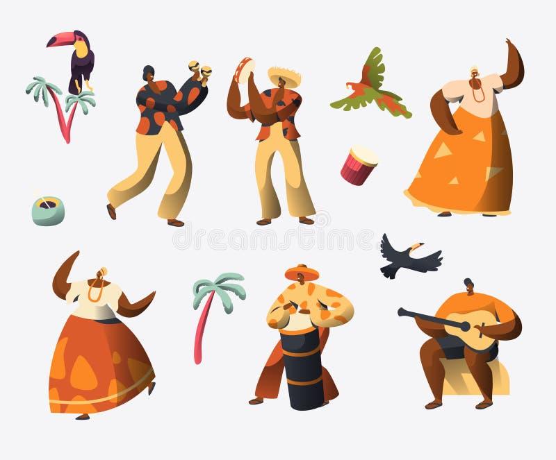 Jogo de caracteres do carnaval de Brasil Dança da mulher no traje brasileiro tradicional em Rio de janeiro Holiday Celebration ilustração royalty free