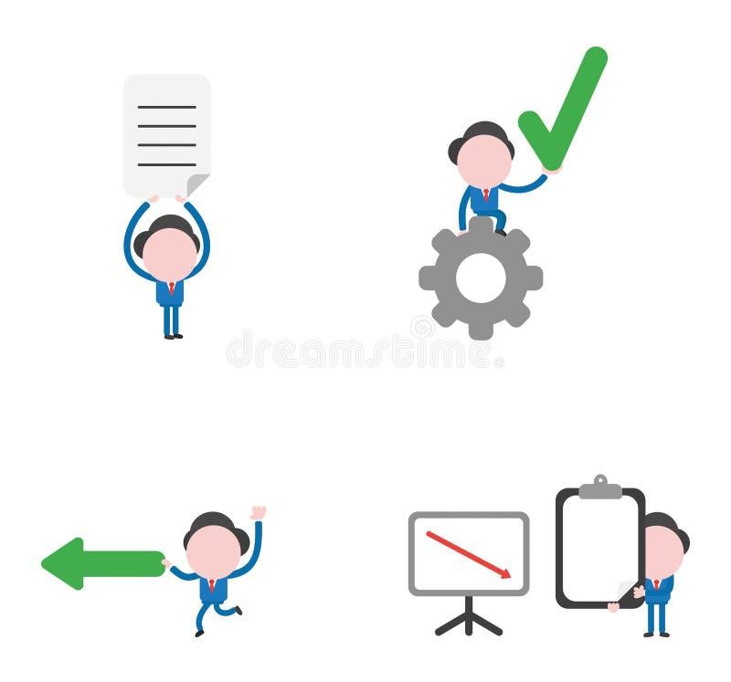 Jogo de caracteres do homem de negócios da ilustração do vetor ilustração do vetor