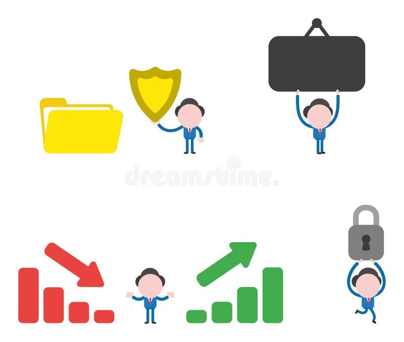 Jogo de caracteres do homem de negócios da ilustração do vetor ilustração stock