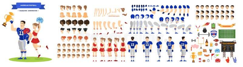 Jogo de caracteres do jogador e do líder da claque de futebol americano ilustração stock