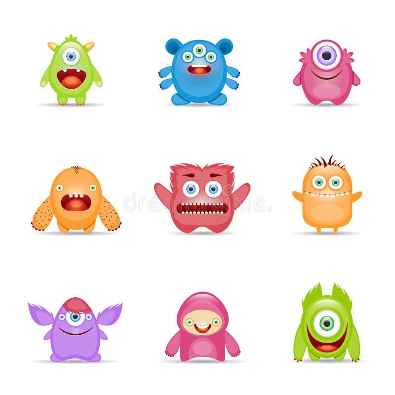 Jogo de caracteres do monstro ilustração stock