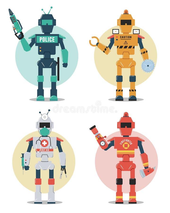 Jogo de caracteres do robô Polícia, construção, médica, robô do sapador-bombeiro ilustração do vetor