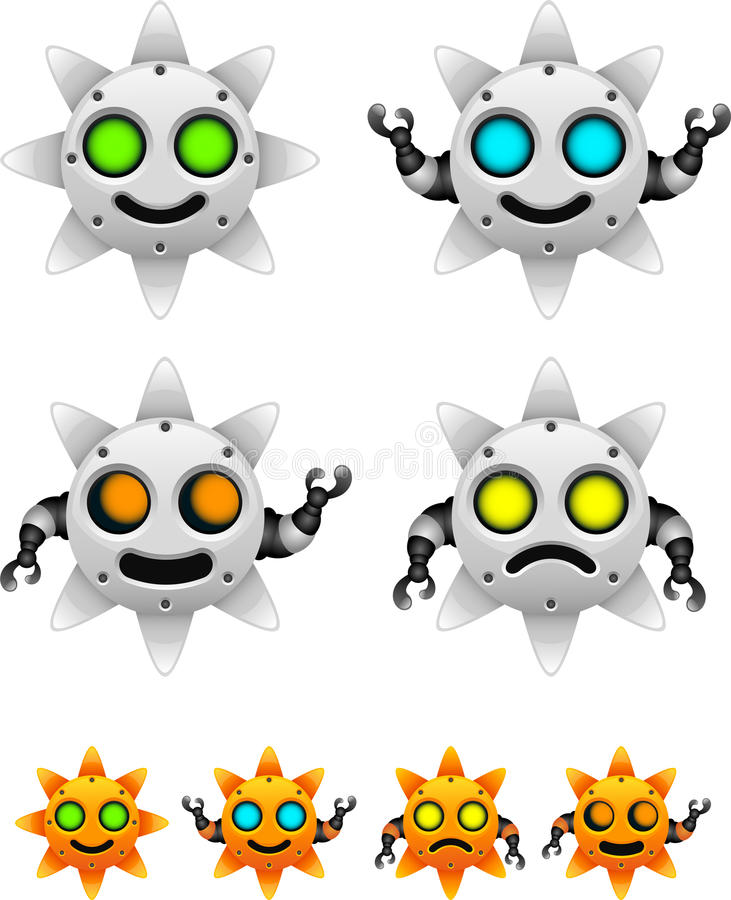 Jogo de caracteres do robô de Sun ilustração royalty free