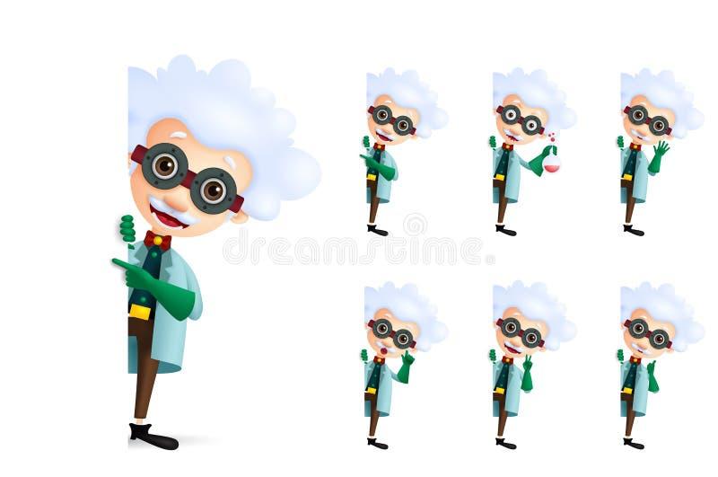 Jogo de caracteres do vetor do cientista que mostra o espaço branco vazio ou a placa vazia para o texto com gestos diferentes da  ilustração do vetor