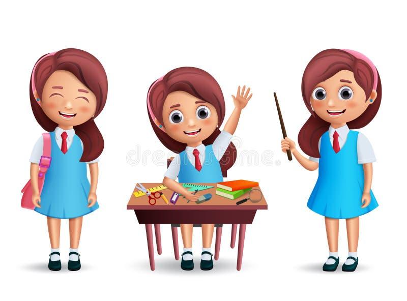 Jogo de caracteres do vetor da estudante da escola De volta ao uniforme vestindo da criança da escola ilustração stock