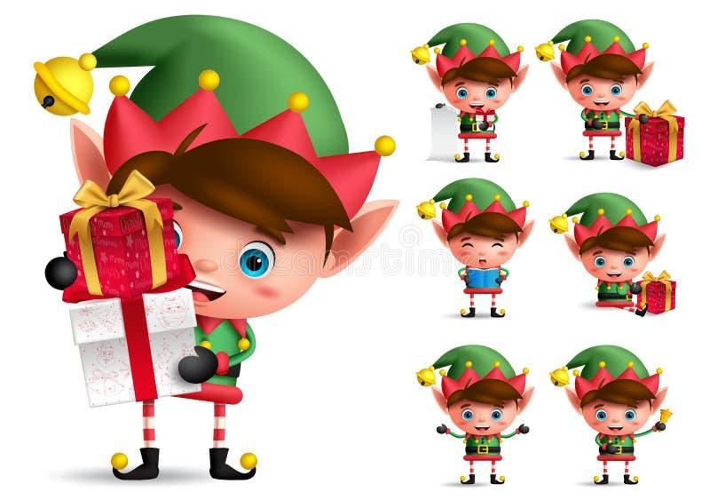 Jogo de caracteres do vetor do duende do Natal Duendes do menino com o traje verde que guarda presentes ilustração royalty free