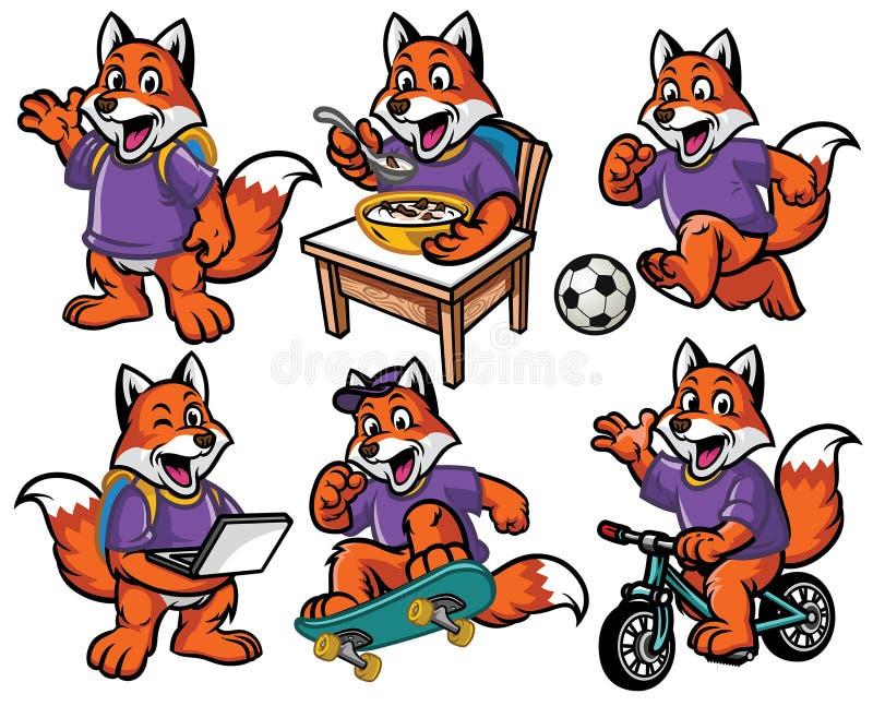 Jogo de caracteres dos desenhos animados da raposa pequena bonito ilustração do vetor