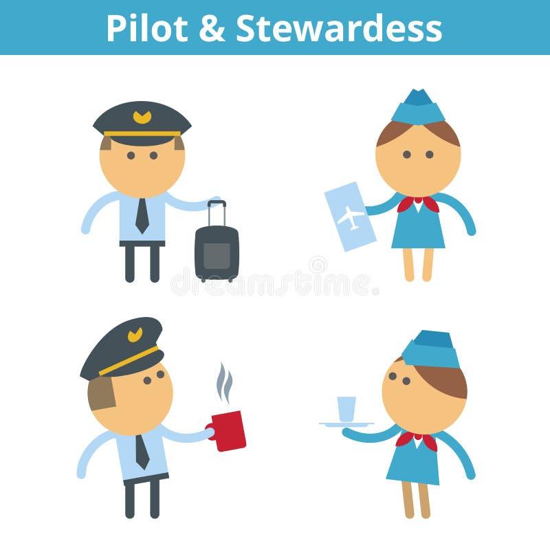 Jogo de caracteres dos desenhos animados das ocupações: piloto e comissária de bordo Vetor ilustração royalty free