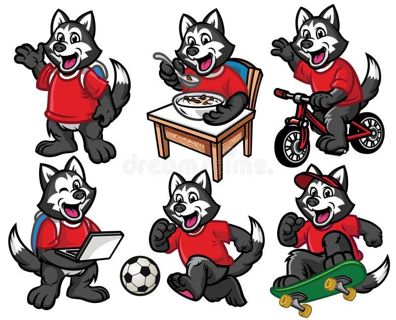 Jogo de caracteres dos desenhos animados do cão pequeno bonito do cão de puxar trenós siberian ilustração stock
