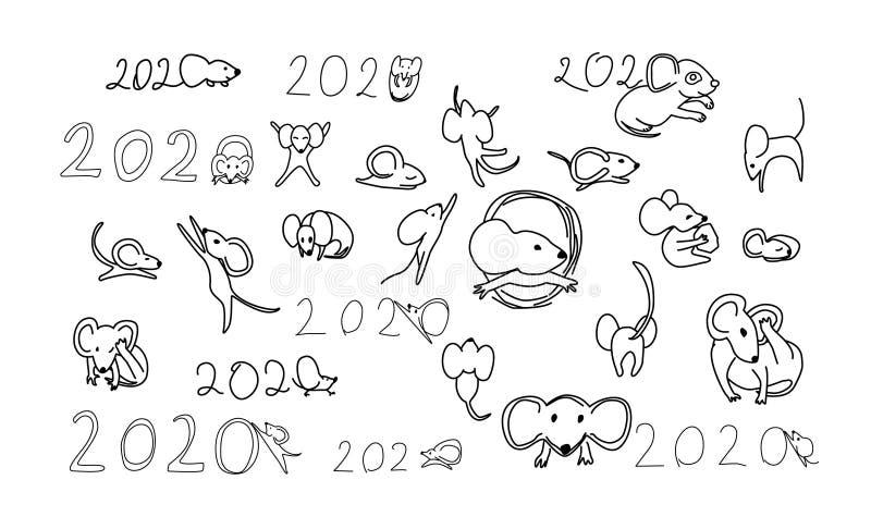 Jogo de caracteres dos desenhos animados do rato Ilustra??o do vetor ilustração stock