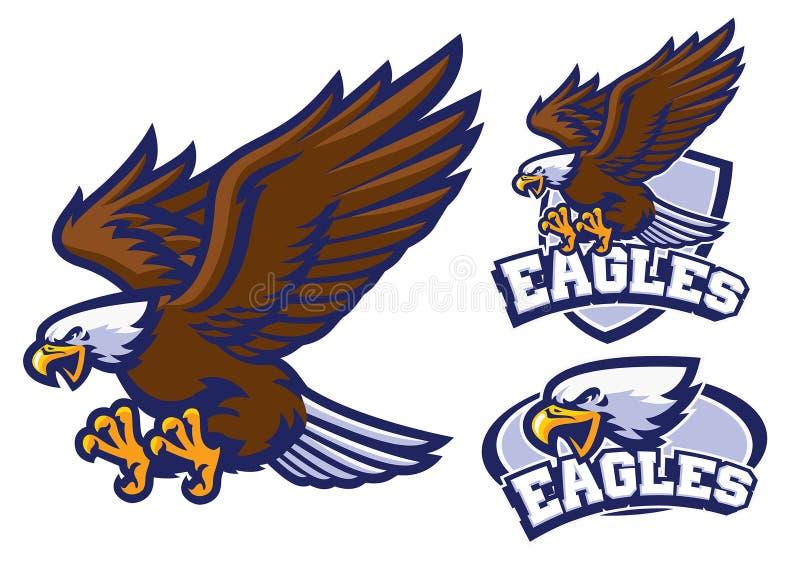 Jogo de caracteres de Eagle no estilo da mascote do esporte ilustração royalty free