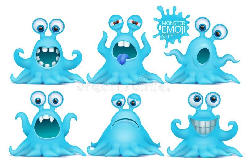 Jogo de caracteres engraçado do monstro do emoji do polvo ilustração stock