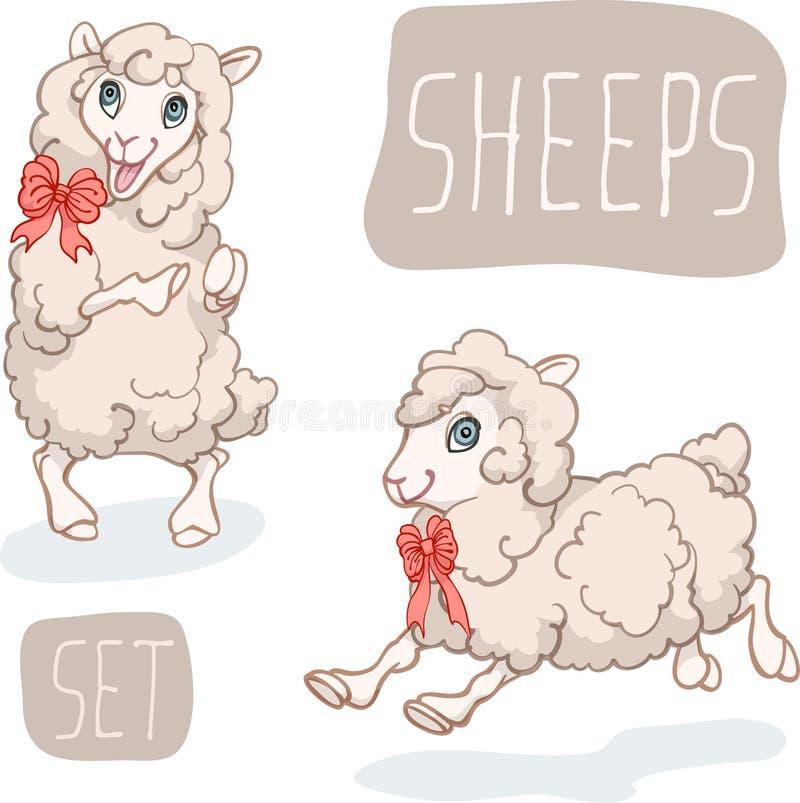 Jogo de caracteres engraçado dos carneiros dos desenhos animados ilustração do vetor