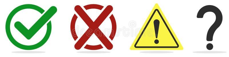 Jogo de caracteres Marca de verificação, cruz, marca de exclamação e pergunta em um branco ilustração stock