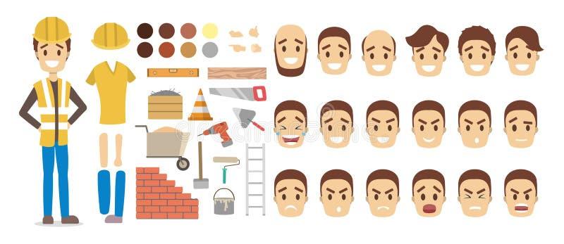 Jogo de caracteres masculino do construtor para a animação ilustração stock