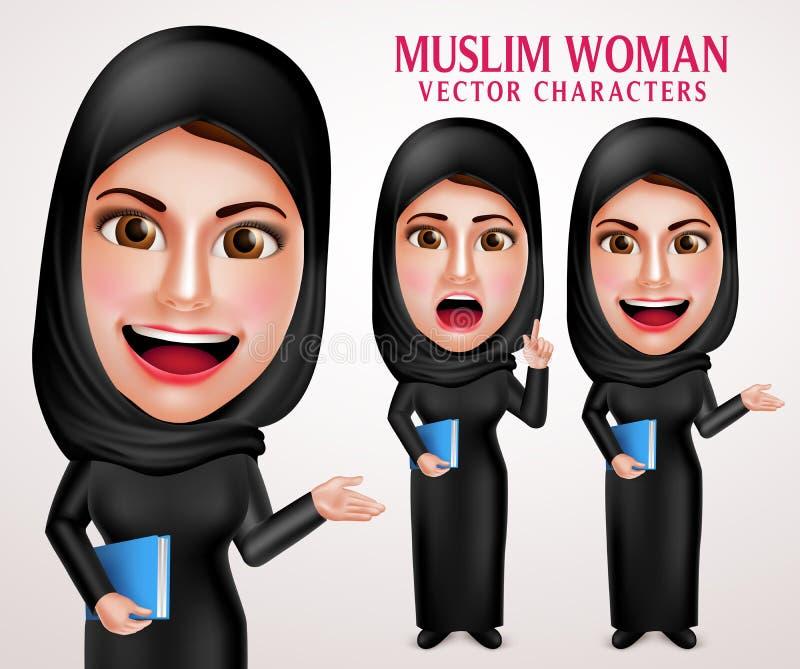 Jogo de caracteres muçulmano do vetor da mulher que guarda o livro com sorriso amigável ilustração do vetor