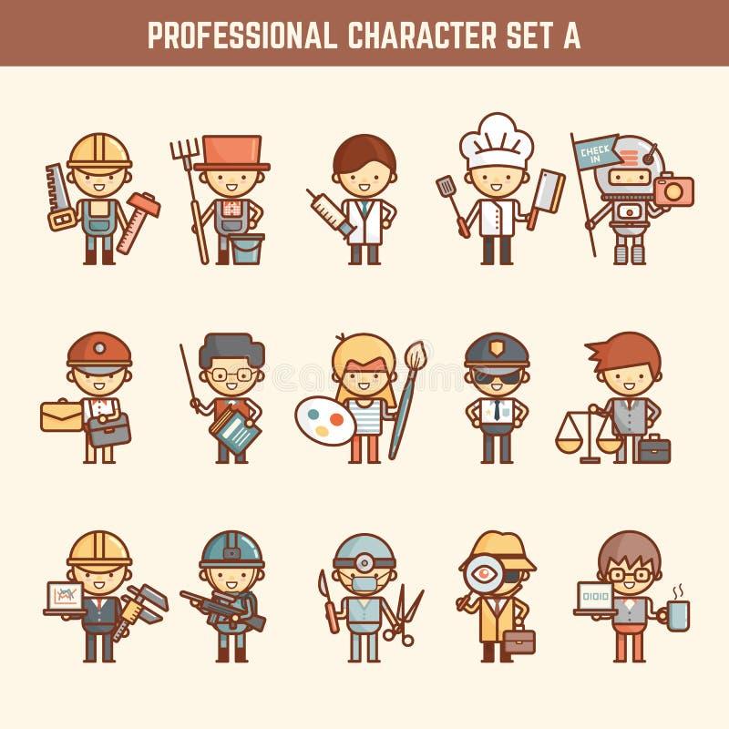 Jogo de caracteres profissional ilustração do vetor