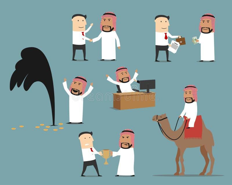 Jogo de caracteres saudita dos desenhos animados do homem de negócios ilustração do vetor
