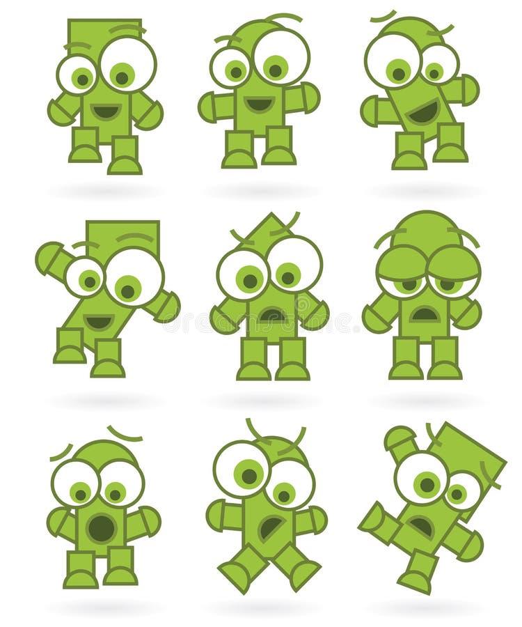 Jogo de caracteres verde engraçado do monstro do robô dos desenhos animados ilustração royalty free