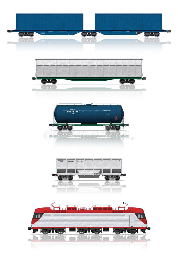 Jogo de carros de estrada de ferro com locomotiva elétrica ilustração stock