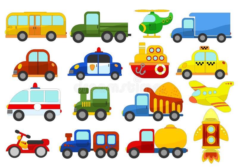Jogo de carros diferentes no fundo branco ilustração do vetor