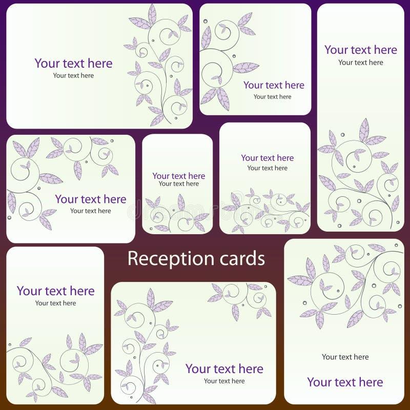 Jogo de cartão da recepção ilustração stock