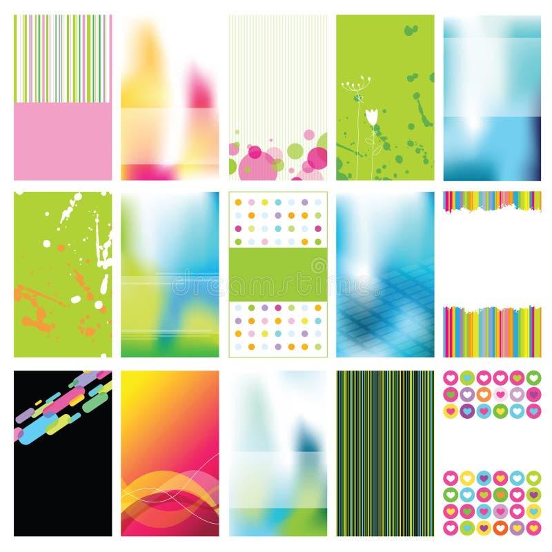 Jogo de cartões coloridos ilustração do vetor