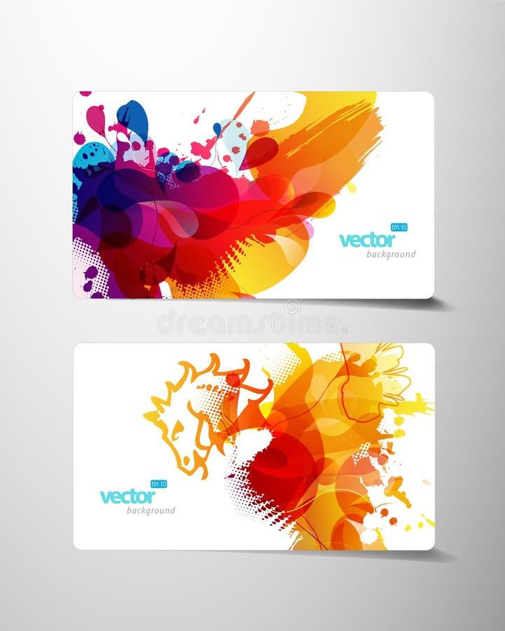 Jogo de cartões coloridos abstratos do presente do respingo ilustração do vetor