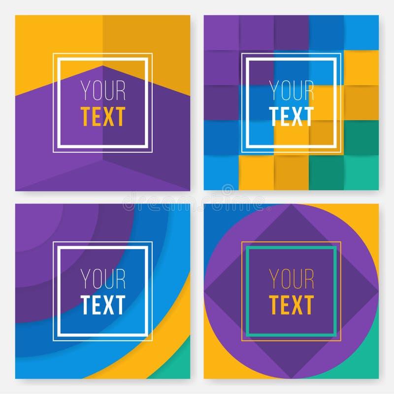 Jogo de cartões coloridos Cartaz abstrato moderno do projeto, tampa, projeto de cartão Geométrico na moda Textura retro, teste pa ilustração royalty free