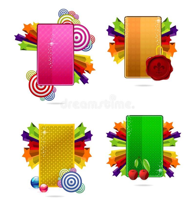 Jogo de cartões creativo colorido vidro ilustração stock
