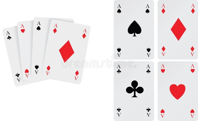 Jogo de cartões de jogo dos ás ilustração stock