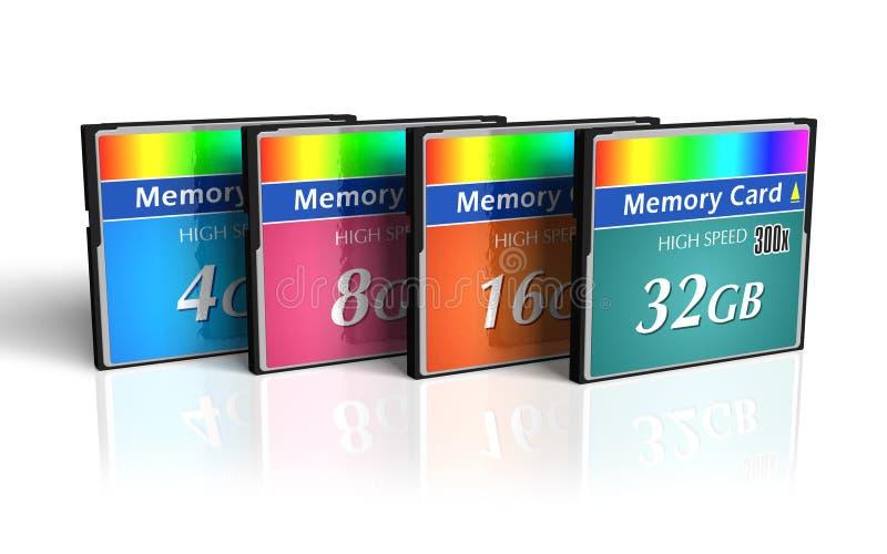 Jogo de cartões de memória de CompactFlash ilustração royalty free