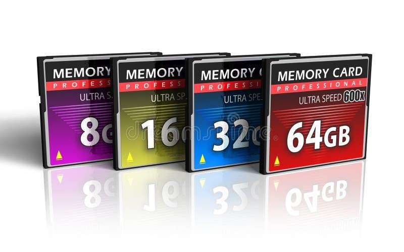 Jogo de cartões de memória de CompactFlash ilustração stock