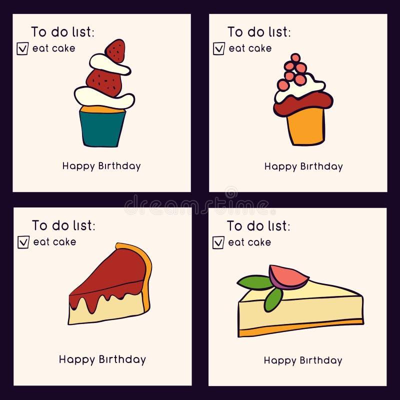 Jogo de cartões do aniversário Coleção do estilo da garatuja dos bolos Doces e pastelarias Ilustração do vetor ilustração do vetor