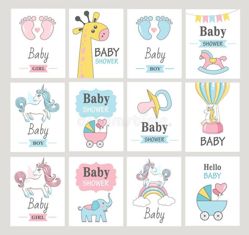 Jogo de cartões do chuveiro de bebê ilustração do vetor