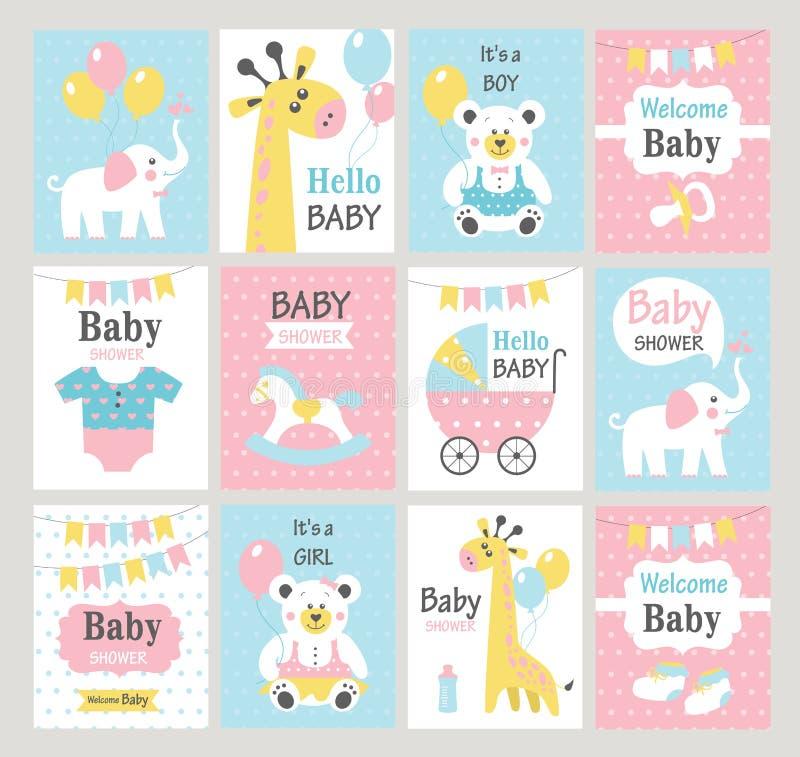 Jogo de cartões do chuveiro de bebê ilustração royalty free