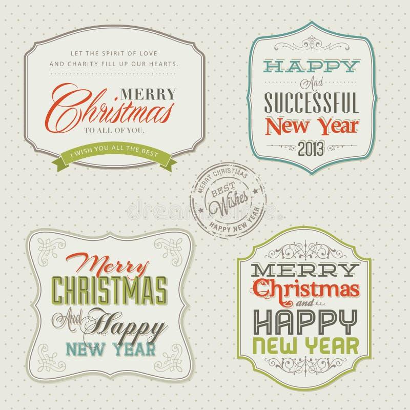 Jogo de cartões do Natal do vintage e do ano novo ilustração do vetor