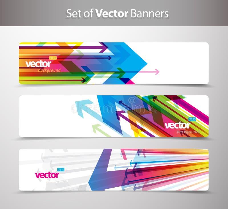 Jogo de cartões do presente com setas ilustração do vetor