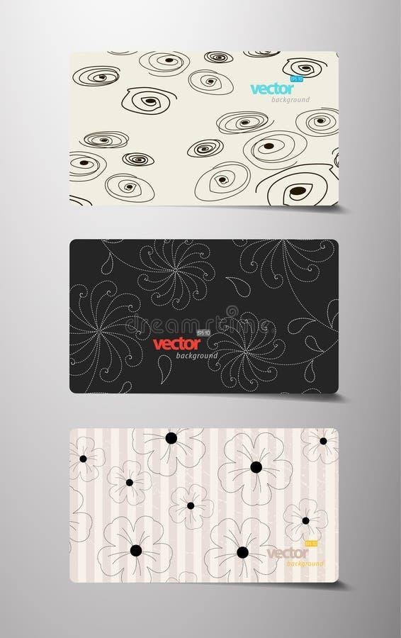Jogo de cartões do presente do teste padrão de flor. ilustração stock