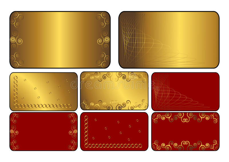 Jogo de cartões dourados e vermelhos. Vetor. ilustração stock
