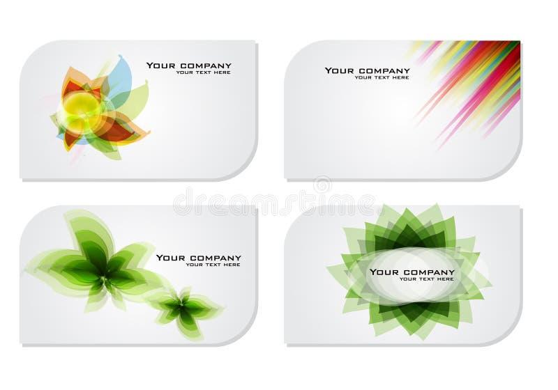 Jogo de cartões florais coloridos abstratos do presente ilustração stock