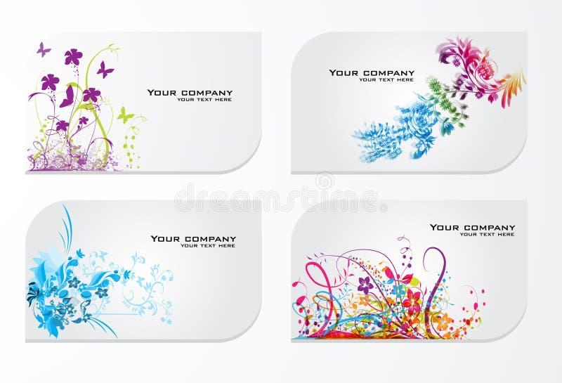 Jogo de cartões florais coloridos abstratos do presente ilustração royalty free