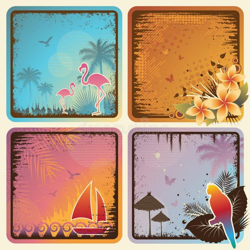 Jogo de cartões tropical ilustração royalty free