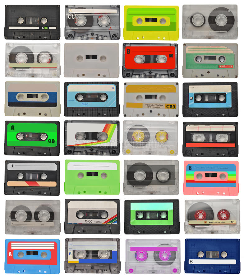 Jogo de cassetes de banda magnética retros foto de stock royalty free