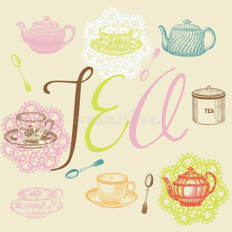 Jogo de chá ilustração do vetor
