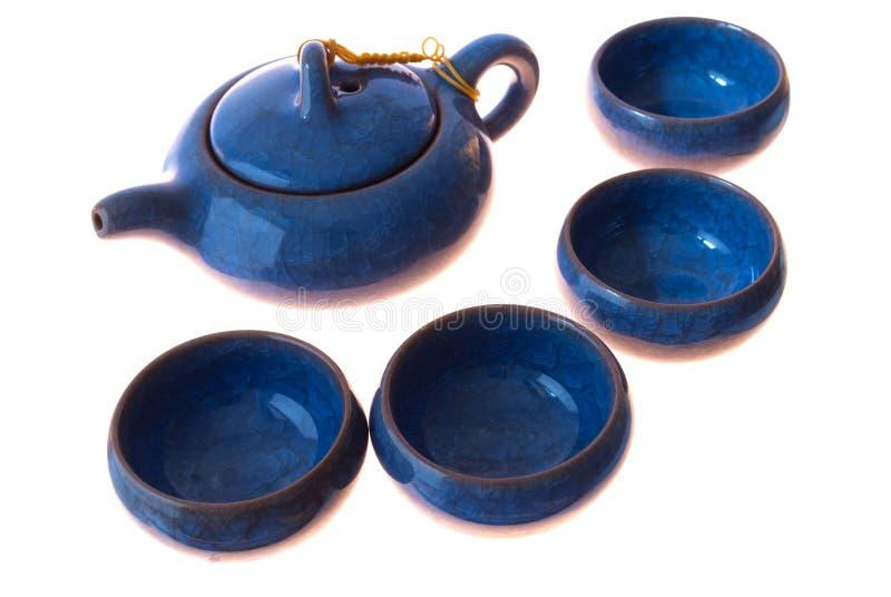 Jogo de chá azul fotos de stock